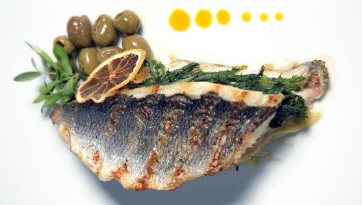 Grilled Sea Bream filet from Mount Athos with smoky eggplant and Halkidiki olives